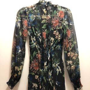 ZARA PRINTED DRESS WITH ELASTIC DETAIL